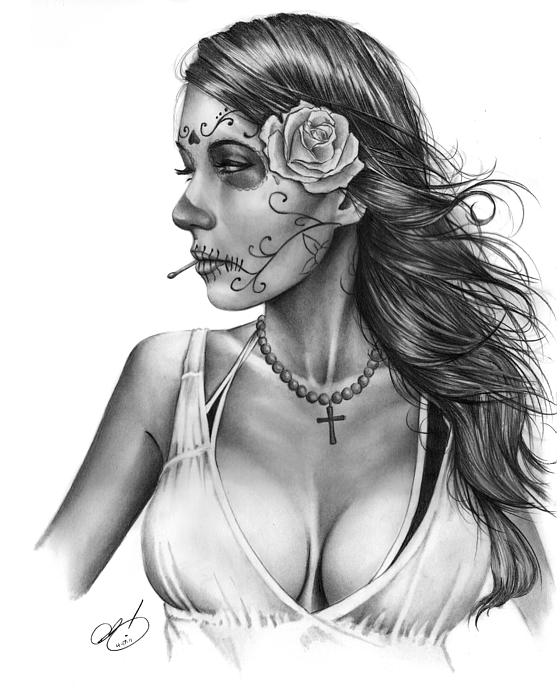 Jennifer Drawing - Dia De Los Muertos 1 by Pete Tapang