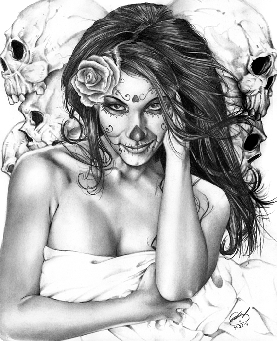 Jennifer Painting - Dia De Los Muertos 2 by Pete Tapang