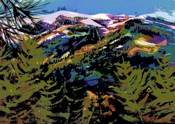 Snow Scenes Painting - Diamond Mtn Watercolor Digital by Therese Fowler-Bailey