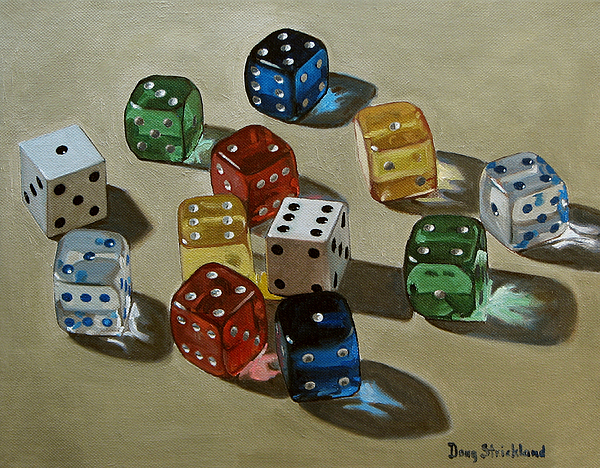 Dice Painting - Dice by Doug Strickland