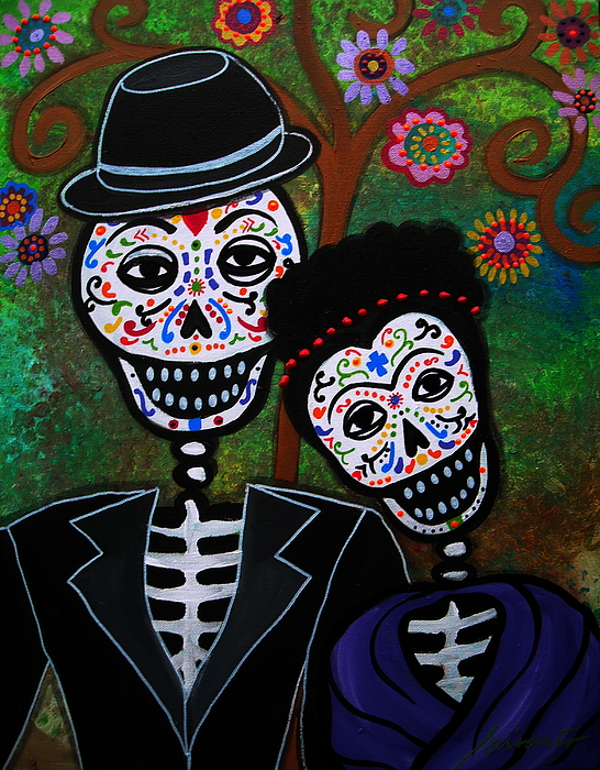 Day Of The Dead Painting - Diego Rivera And Frida Kahlo by Pristine Cartera Turkus