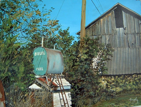 Barn Painting - Diesel Fuel by William  Brody
