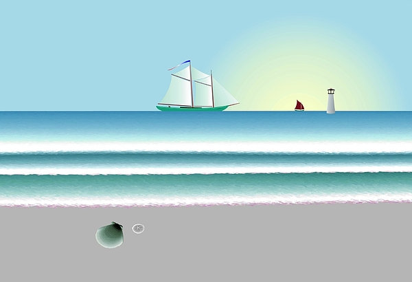 Nautical Digital Art - Digital Shoreline 1 by Steve Smyth