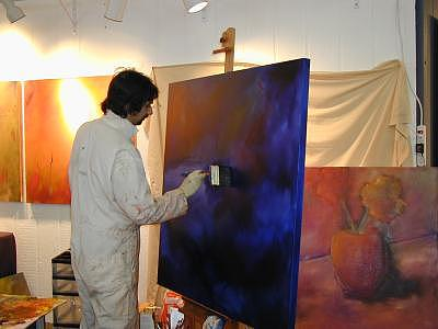 Oil Painting Painting - Dimitri Kourouniotis At Work During The Celebration by Dimitri Kourouniotis