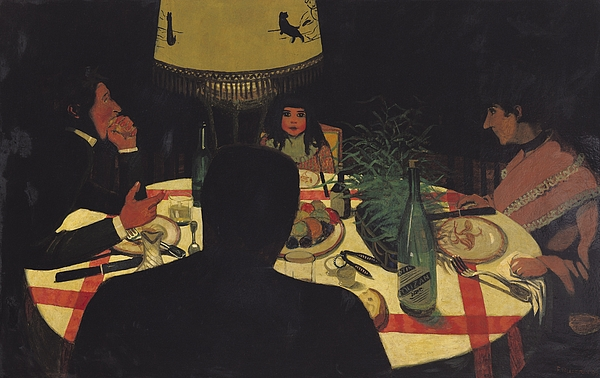 Dinner Painting - Dinner By Lamplight by Felix Edouard Vallotton
