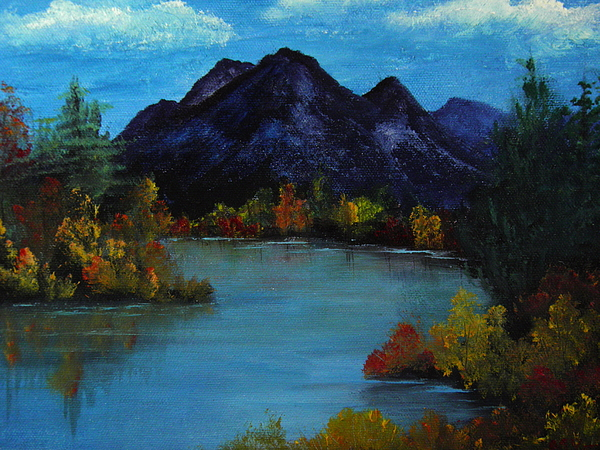 Mountain Painting - Distant Mountain View by Rhonda Myers