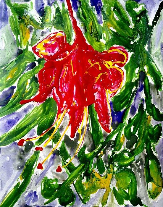 Abstract Flowers Painting - Divine Fllowers by Baljit Chadha
