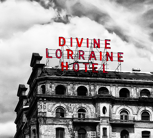 Hotel Photograph - Divine Lorraine Hotel Marquee by Bill Cannon