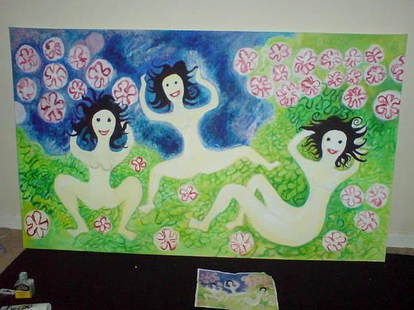 Figurative Painting - divozenky  MEANING wild women by Emma Croydon