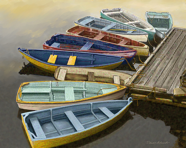 Canoe Painting - Dock With Colorful Boats by Dennis Orlando