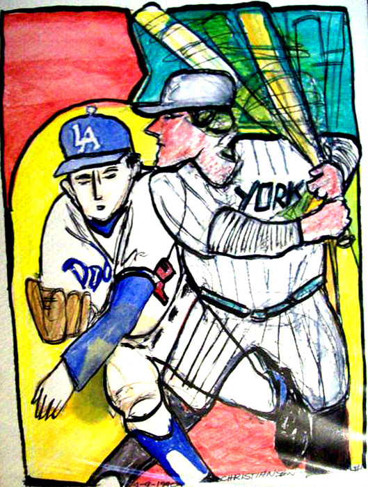Watercolor And Ink Painting - Dodgers Yankees by James Christiansen