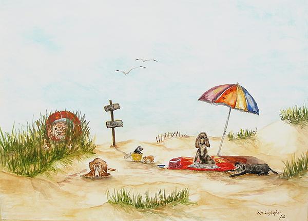 Dog Beach Painting by Miroslaw  Chelchowski