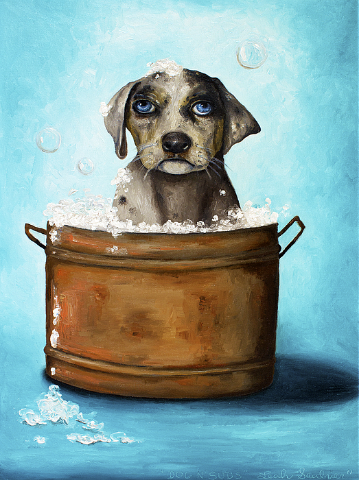Dog Painting - Dog N Suds by Leah Saulnier The Painting Maniac