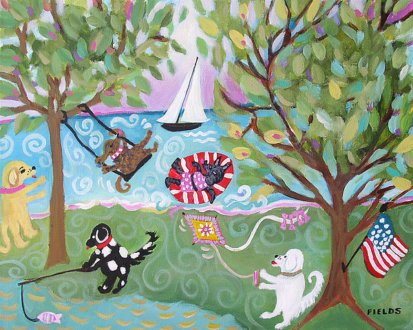 Dogs Painting - Dog Park Dog Hangout by Karen Fields
