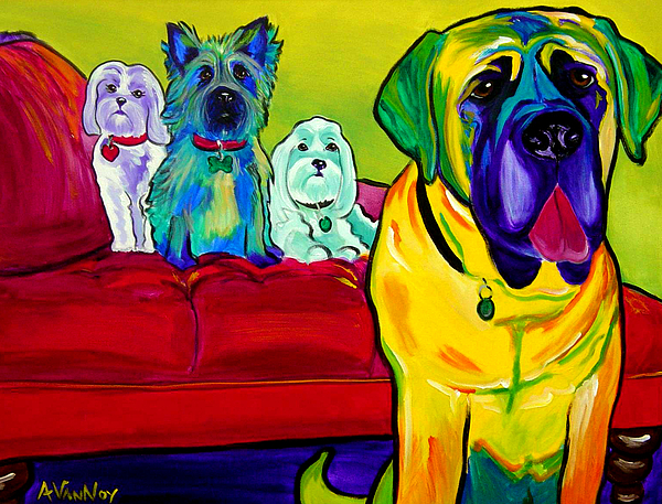 Dog Painting - Dogs - Droolers Get The Floor by Alicia VanNoy Call