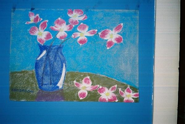 Dogwood Pastel - Dogwood In Blue Vase by Geanene Anderson