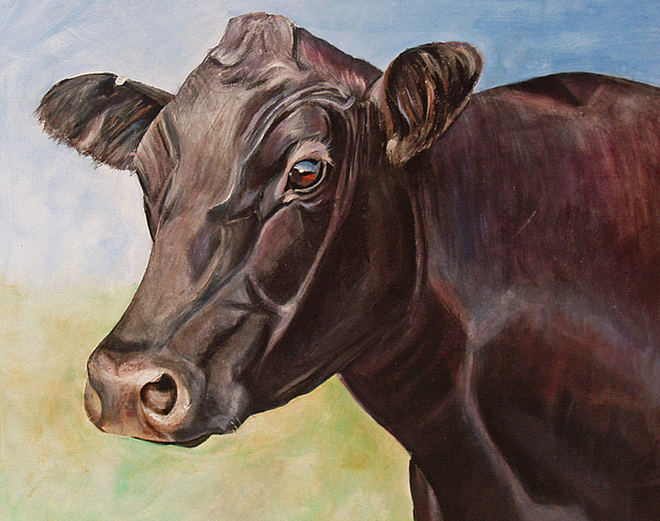 Cow Painting - Dolly The Angus Cow by Toni Grote