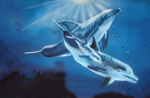 Airbrush Painting - Dolphin Family by Peter Morris