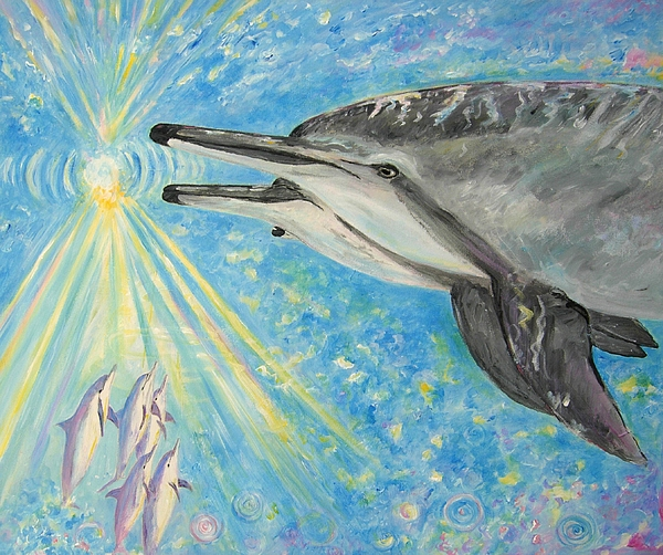 Dolphins Painting - Dolphin Power by Tamara Tavernier