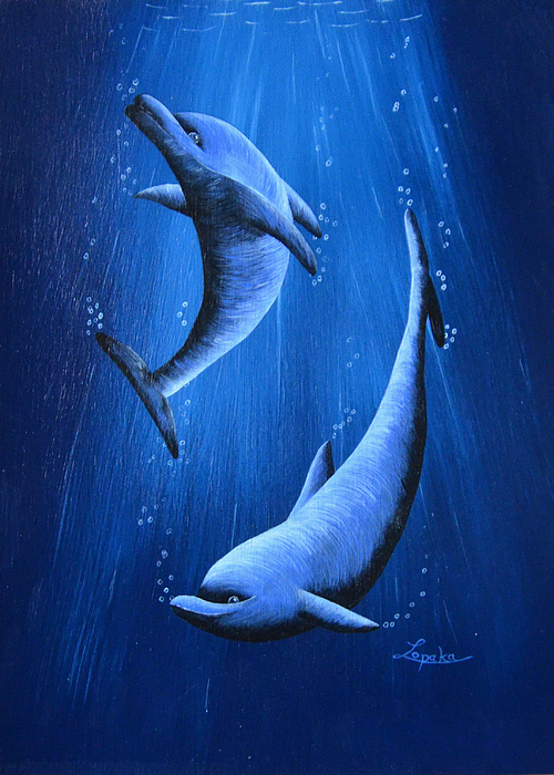 Dolphins Painting - Dolphins by Roberta Landers
