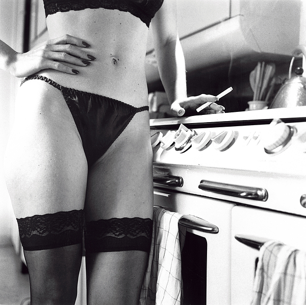 Lingerie Photograph - Donna In The Kitchen by David Thompson