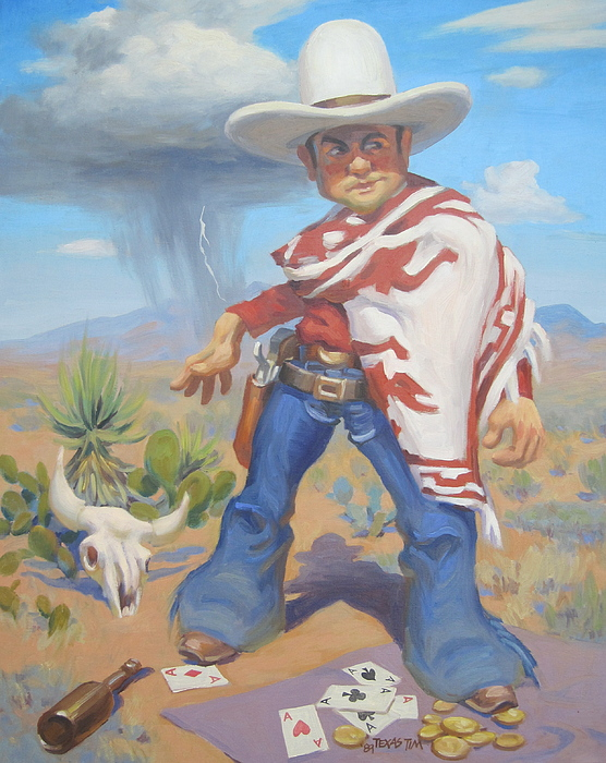 Cowboy Getting Ready To Draw His Gun With A 10 Gallon Hat And Poncho Coins And Playing Cards In The Forground. There Is A Cow Skull In Te Background With Cactus And A Rain Cloud. Painting - Dont Slap Leather With The Pecos Kid by Texas Tim Webb