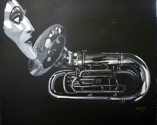 Tuba Painting - Dont You Dare Play That by Richard Le Page