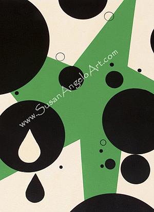 Acrylic Painting - Dot Green by Susan-Angelo  DeBay