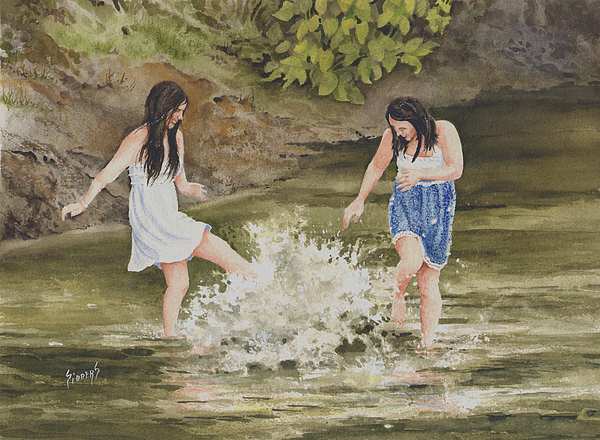 Creek Painting - Double Trouble by Sam Sidders