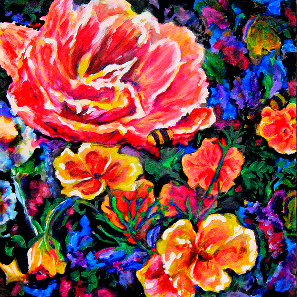 Flowers Painting - Double Tulip Delight by Laura Heggestad