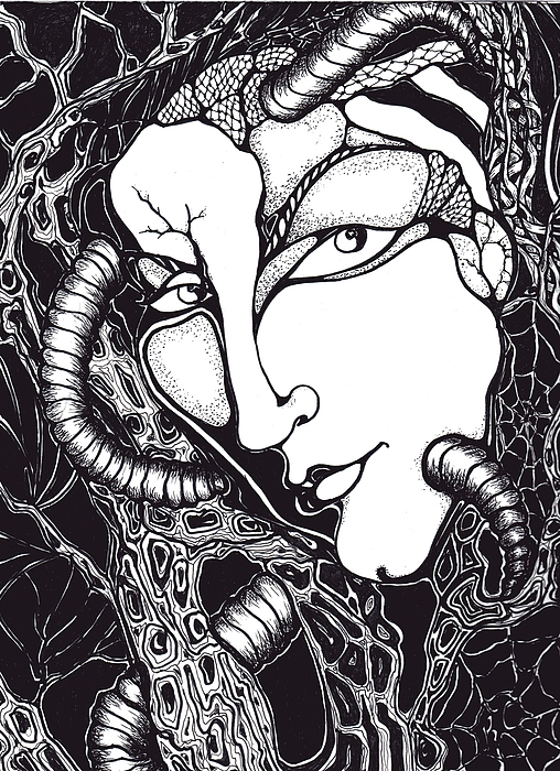 Black And White Graphic Drawing - Doubt by Rae Chichilnitsky