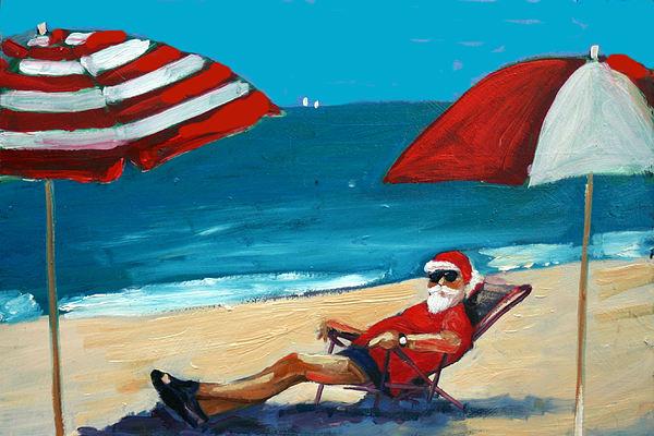 Beach Scene Greeting Card - Down Time by Debbie Miller