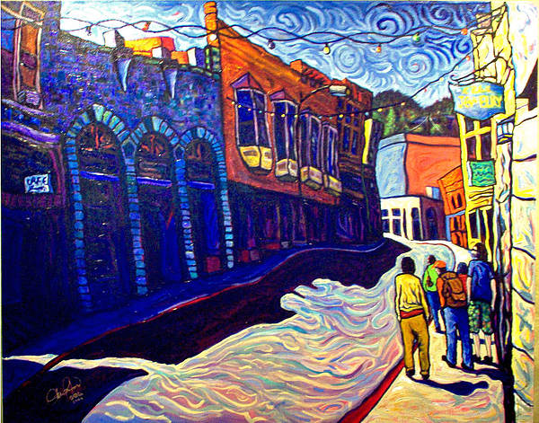 Downtown Painting - Downtown Bisbee by Steve Lawton
