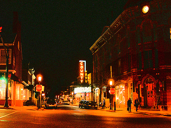 Doylestown Photograph - Doylestown-county Theater At Night by Addie Hocynec