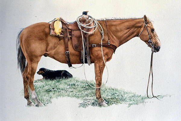 Horse Painting - Dozing Between Shifts by Judith Angell Meyer