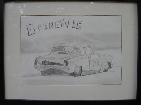 Drawing - Drag At Bonneville by Chris Lambert