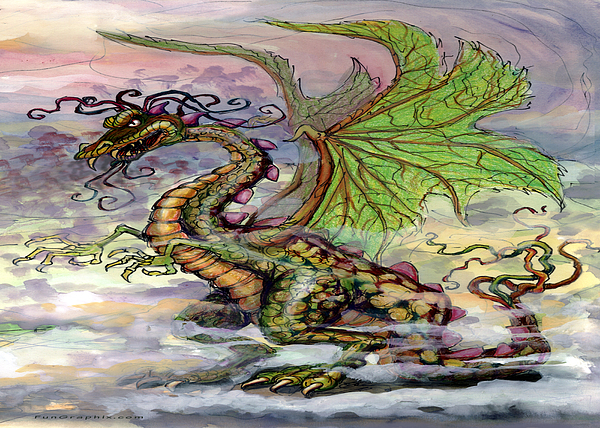 Dragon Painting - Dragon by Kevin Middleton