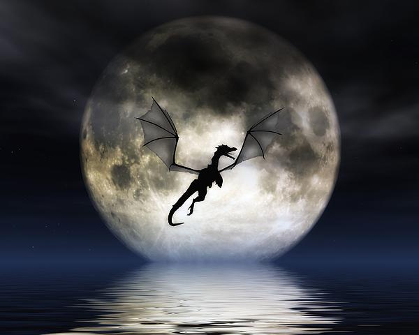 Full Moon Dragon: Dragon Moon Digital Art By Julie Fain
