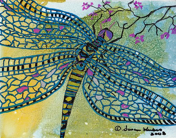 Dragonfly Mixed Media - Dragonfly And Cherry Blossoms by Susan Kubes