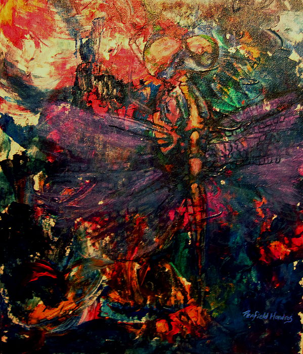 Dragonfly Painting - Dragonfly And Fishing Lures by Penfield Hondros