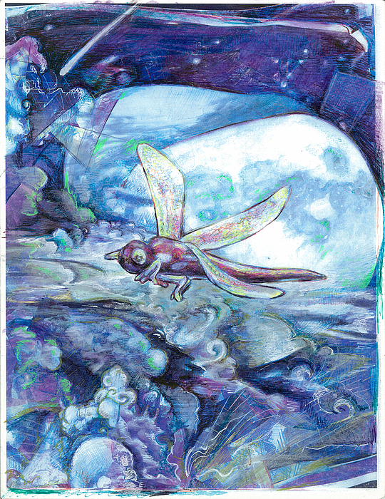 Dragonfly Painting - Dragonfly Moon by Jeremy Robinson