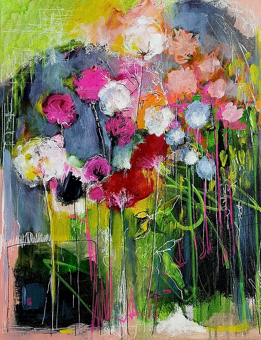 Flowers Painting - Dramatic Blooms by Nicole Slater