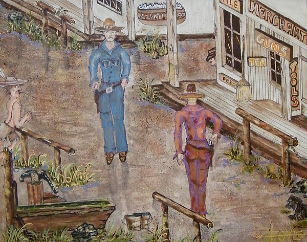 Western Painting - Draw Drip Oil Pen And Ink by Larry Doyle