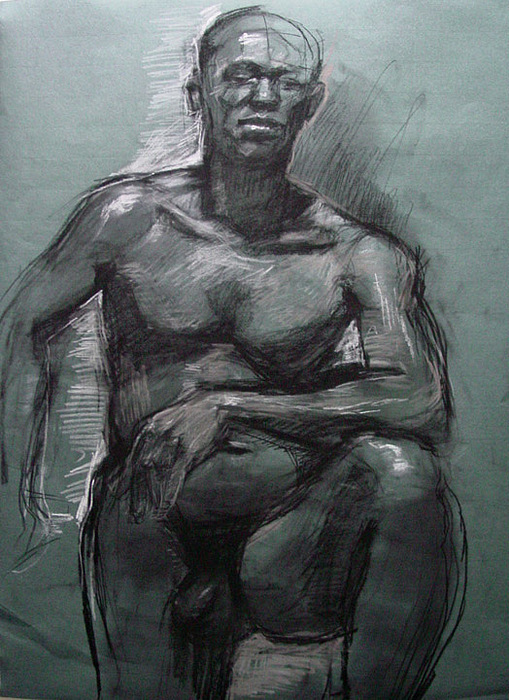 Nude Drawing - drawing of James by Nancy Blum
