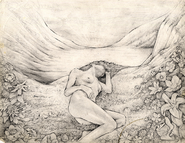 Beautiful Drawing - Dreaming In The Garden by Jeremy Robinson