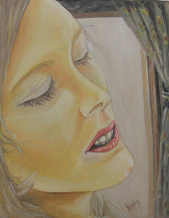 Lady Painting - Dreaming by Rajesh Chopra