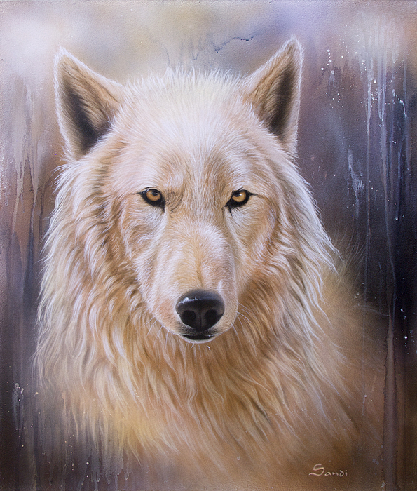 Wildlife Painting - Dreamscape Wolf IIi by Sandi Baker