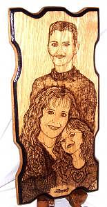 Family Portraits Drawing - Drews Family Portrait From Two Photos Woodburned by Marla Gebhardt