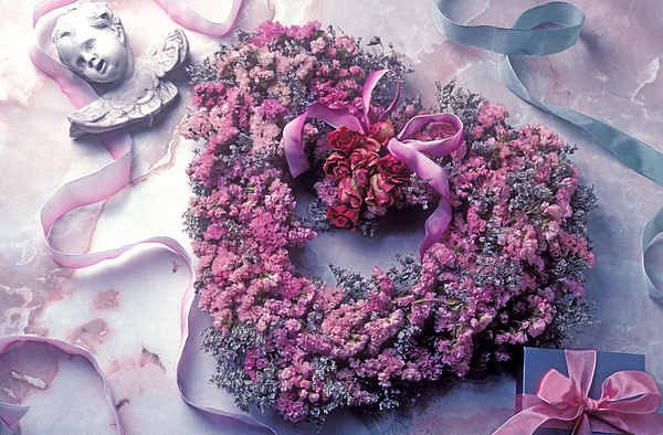 Heart Photograph - Dried Flower Heart Wreath by Garry Gay