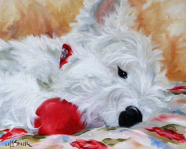 Westie Painting - Drifting Off by Mary Sparrow